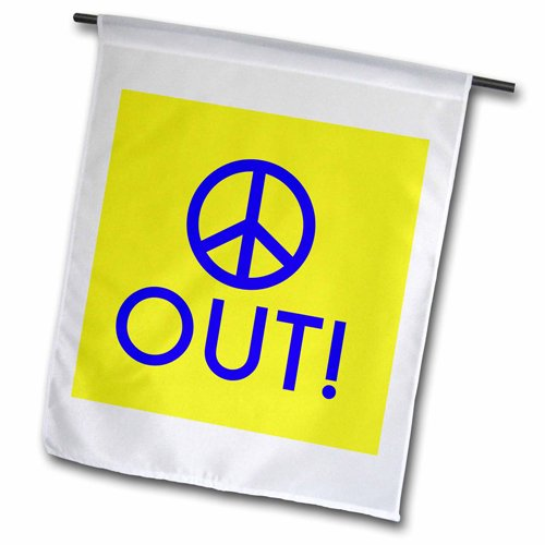 3dRose Peace Out Blue Letters with Picture of Peace Sign on Yellow Background Garden Flag, 12 by 18