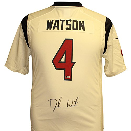 Deshaun Watson Autographed Houston Texans White Nike On Field Jersey - Beckett Authentic ()