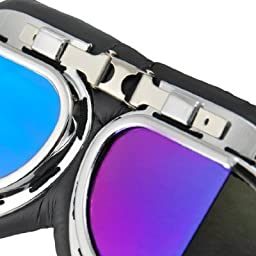 Excellent 1x Angle Mirror Reflective Lens Eyewear for Aviator Pilot Cruiser Motorcycle Scooter ATV Goggle