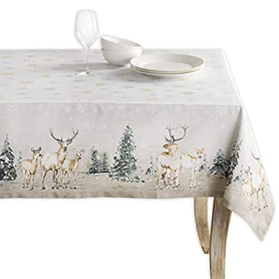 "Maison d' Hermine Deer in The Woods 100% Cotton Tablecloth 60 Inch by 108 Inch. - Designed in Europe 100% Cotton & Machine washable. Package Includes : 1 Tablecloth Our collections are featured in Elle Decor and House Beautiful for ""Best Thanksgiving Tablecloth"". - tablecloths, kitchen-dining-room-table-linens, kitchen-dining-room - 418j5ZPLIRL. SS400  -"