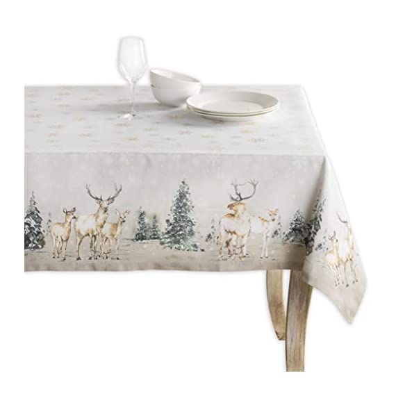 """Maison d' Hermine Deer in The Woods 100% Cotton Tablecloth for Kitchen Dinning Tabletop Decoration Parties Weddings Thanksgiving Christmas (Rectangle, 60 Inch by 108 Inch) - Designed in Europe 100% Cotton & Machine washable. Package Includes : 1 Tablecloth Our collections are featured in Elle Decor and House Beautiful for """"Best Thanksgiving Tablecloth"""". - tablecloths, kitchen-dining-room-table-linens, kitchen-dining-room - 418j5ZPLIRL. SS570  -"""