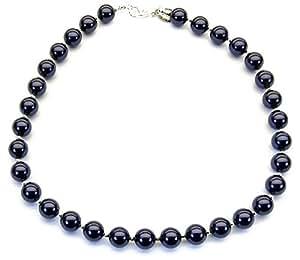 Collar de perlas con cristales Swarovski Morado oscuro KS202