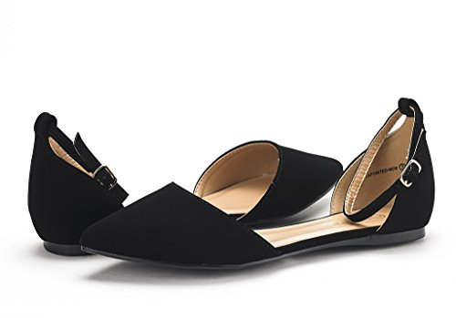 DREAM PAIRS Damen FLAPOINTED-New D'Orsay Ballerinas Schuhe Schwarzes Nubuk