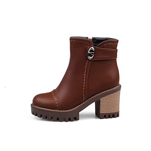 AllhqFashion Womens Zipper High-Heels PU Solid Low Top Boots, Brown, 38