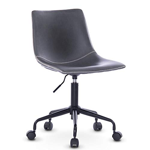 DJ·Wang vsd Home Office Casua Side Chair Black Rolling Metal Base Centiar Counter Height Barstool,Mid Century Modern Style, Faux Leather Bucket Seat (Antique Grey)