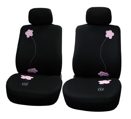 41RqSPjoOdL FH Group Universal Fit Full Set Floral Embroidery Design Car Seat Cover, (Black) (FH-FB053115, Airbag compatible and Split Bench, Fit Most Car, Truck, Suv, or Van)