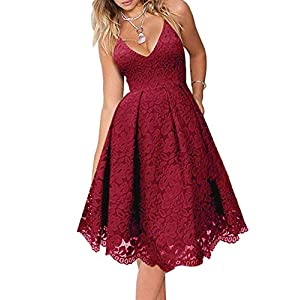 MEROKEETY Women's Lace Floral V Neck Spaghetti Straps Backless Cocktail A-Line Dress for Party 24