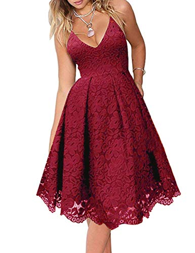 MEROKEETY Women's Lace Floral V Neck Spaghetti Straps Backless Cocktail A-Line Dress for Party Burgundy