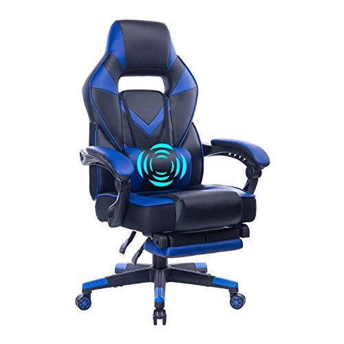 HEALGEN Reclining Gaming Chair with Massage Lumbar Pillow – Memory Foam PC Computer Racing Gamer Chair – Ergonomic High-Back Office Desk Chair GM005-Blue