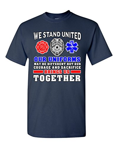 We Stand United Our Uniforms Brings Us Together Proud DT Adult T-Shirt Tee (Medium, Navy Blue) (Sexy Firewomen)