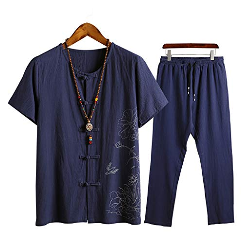 - Men 2 Piece Set Cotton Linen Breathable T-Shirt Frog Button Tee Shirt Chinese Kung Fu Traditional Top (4XL, Navy)