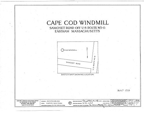 - Historic Pictoric Blueprint Diagram HABS Mass,1-East,1- (Sheet 0 of 5) - Cape Cod Windmill, Samoset Road (Moved from Plymouth to Truro to Eastham, MA), Eastham, Barnstable County, MA 14in x 11in