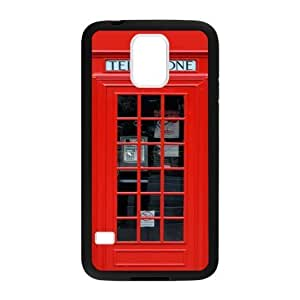 Classic Red Lodon Telephone Booth,Telephone Box Pattern Plastic and TPU Case Cover for Samsung Galaxy S5 (Laser Technology)
