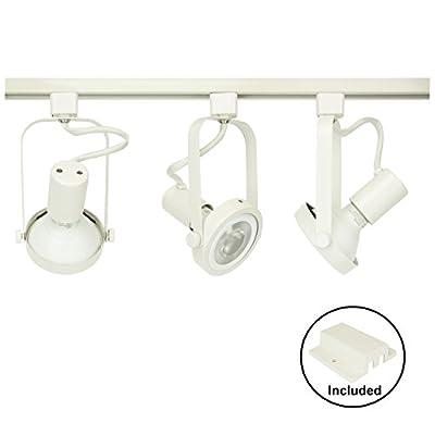 D&D Brand H System 3-Lights PAR30 LED Track Lighting Kit Gimbal Ring Rear Loading White 3K Warm White HTC-9005-330K-WH Bulbs Included