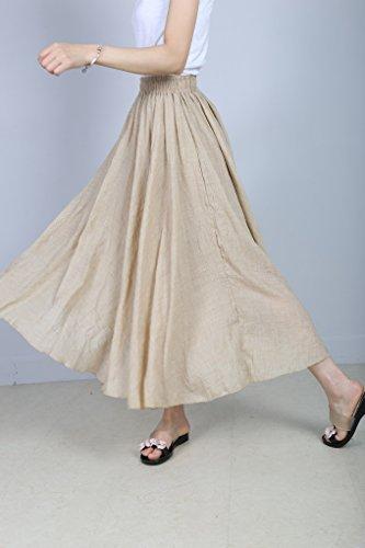 Coton Long Evedaily Beige lastique Taille Longue Femme en Jupe Skirt Lin Haute Pliss Taille qxz6PwqO