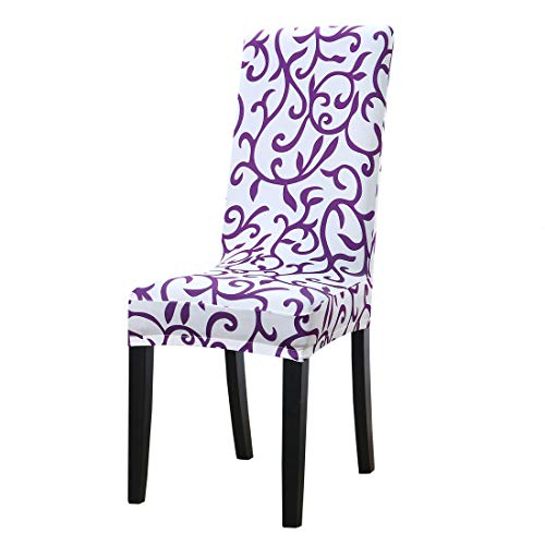 uxcell Dining Chair Cover,Stretch Bar Stool Slipcover Kitchen Chair Protector Spandex Pattern Chair Seat Cover for Home Decorative/Dining Room/Party/Wedding (Medium,White + Purple)