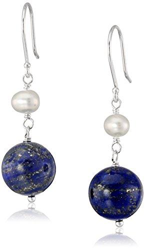 Cultured Freshwater Potato - Lapis Lazuli Bead and White Potato Freshwater Cultured Pearl Accent on Sterling Silver Drop Earrings