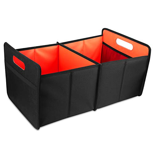 COCOBELA Car Trunk Organizer, Collapsible Auto Trunk Organizer Storage Bin, Portable Grocery Cargo Container with Two Large Compartments for SUV, Vehicle, Truck, Home and Office - Cube Organizer Trunk