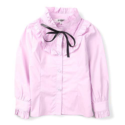OCHENTA Girls' Princess Lace Collar Uniform Bowknot Blouse, Long Sleeve Ruffle Shirt Pink US 7-8Y - Tag 130