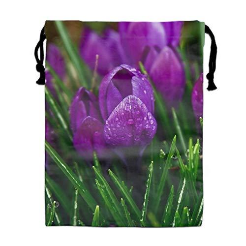 Design Art Crocus - Drawstring Bags Favors for Kids Flower Crocus Purple Design Backpack Rucksack Shoulder Bags Gym Bag, Arts & Crafts Activity