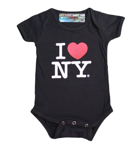 I Love NY New York Baby Infant Screen Printed Heart Bodysuit Black Medium 12 ... by NYC FACTORY (Image #2)