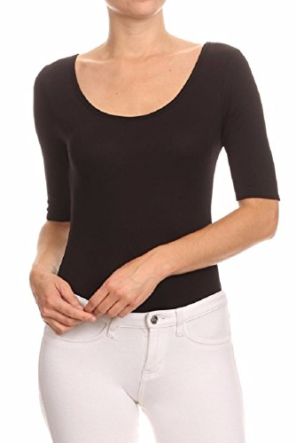 Midnight Bodysuit - MIDNIGHT LOVERS Womens Solid 3/4 Sleeve Scoop Neck Low Back Bodysuit Leotard (Black, Medium)