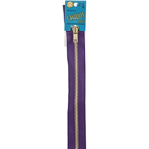Coats Fashion Metal Brass Separating Zipper, 24-Inch, Purple (Purple Zipper)