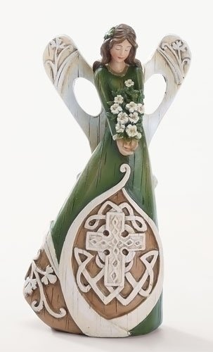 "Roman 7"" Luck of The Irish Woodcut Inspirational Angel Figure with Celtic Cross"