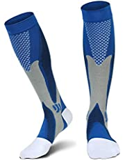 1 Pair Compression Socks For Men Athletic Football Socks for Run Basketball Soccer Travel XXL Blue