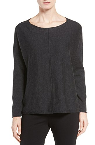 Eileen Fisher Women's Merino Wool Jersey Bateau Neck Boxy Sweater (Medium, Charcoal) by Eileen Fisher