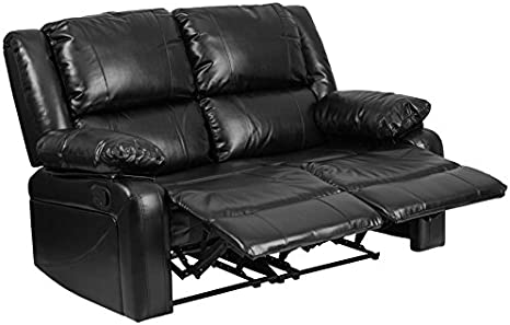 Amazon Com Emma Oliver Black Leather Loveseat With Two Built In