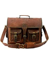 Handolederco 15 Vintage Leather Messenger Soft Leather Briefcase Satchel Leather Laptop Messenger Bag for Men...