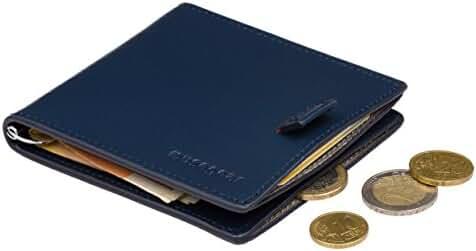 musegear slim wallet NFC RFID blocker, blue, genuine leather, card coins, money clip