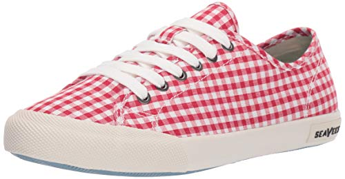 SeaVees Women's Women's Monterey Sneaker Americana Shoe, Red, 7.5 M - Calendar Gingham