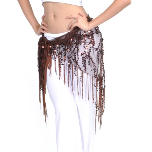 (BellyLady Belly Dance Hip Scarf Shawl With Fringe Tribal Triangle Tassles Wrap-Coffee)