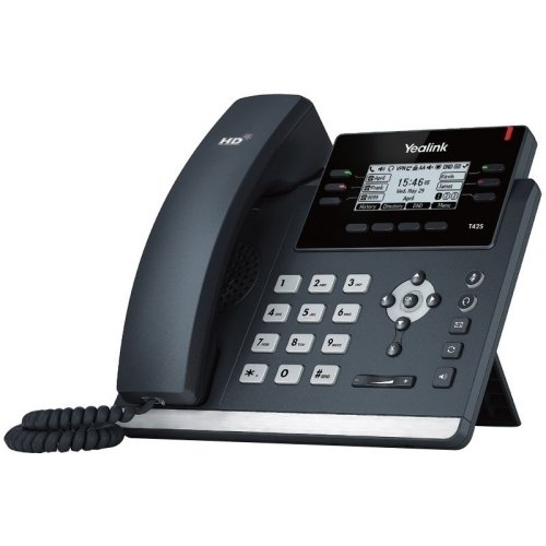 Yealink SIP-T42S IP Phone, 12 Lines. 2.7-Inch Graphical Display. Dual-Port Gigabit Ethernet, 802.3af PoE, Power Adapter Not Included