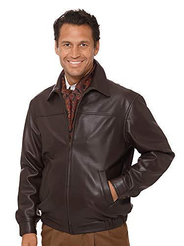 New Zealand Lambskin Leather Bomber Jacket Chocolate Large ()