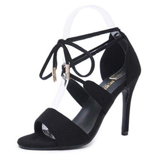 Hope Gamuza del del Correa La Partido Tarde De Alto De Sandalias Vestido Fiesta Pie De Dedo De Black De Zapatos Tacón De Tobillo del Sandalias Mujer Abierto del OrBqTEzxr