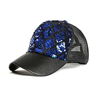 FALETO Unisex Diamond Sequin Cap Reversible Adjustable Mesh Baseball Cap Mermaid Sequins DIY Trucker Cap Sun Hat - Blue - One Size