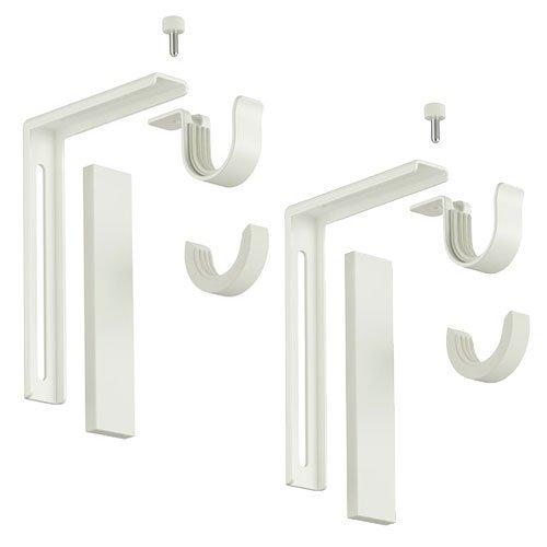Ikea Curtain Rod Holder Bracket Wall/Ceiling Set Of 2 Steel White ()