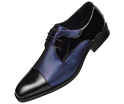 (Amali Mens Two Tone Metallic and Black Patent Cap Toe Oxford, Lace-Up Tuxedo Dress Shoe)