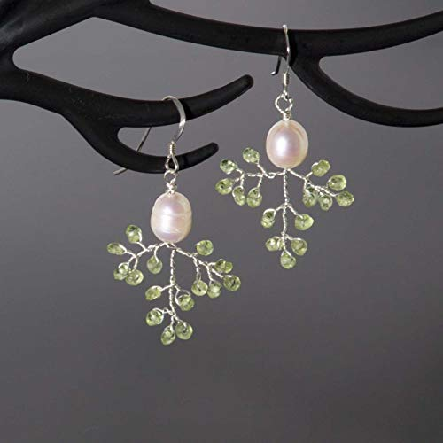Sterling Silver Peridot Branch Earrings Handmade Nature Inspired Jewelry White Freshwater Pearl