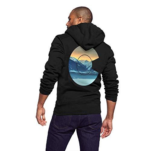 Gaga.idol.Type hoodies Mens Slim Fit Long Sleeve Hooded Fleece Sweatshirt Lightweight Zip-up Hoodie with Kanga Pocket - Unique Colorado State Mountain Flag Design (Hoodie Zip Faith)