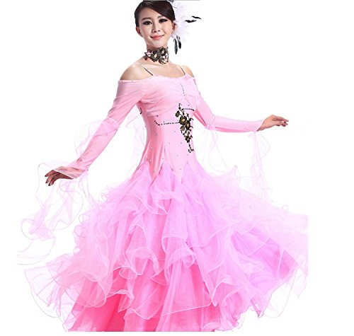 Ballroom Dance Dresses Practise Dance Rhinestone Competition Dresses Modern Waltz Tango Smooth Ballroom Dance Costumes For Women Flamenco Dresses Showcase Dance (Pink Dance Costume)