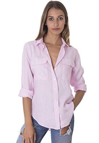 Fine Italian Linen - CAMIXA Womens 100% Linen Button Down Shirt Casual Basic Blouse Pockets Loose Top XS Pink