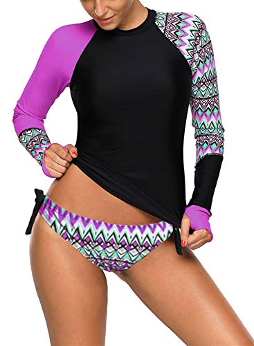 Womens UPF 50+ Slim Fit Colorblock Full Sleeve Tankini Top with Short Brief Rash Guard Swimsuit Purple XL Size