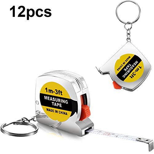 12 Pieces 1.5 Inch Tape Measure Keychains Functional Mini Tape Measures with Stable Slide Lock Birthday Party Favors Goody Bag Fillers - Measure Tape Keychain