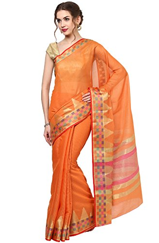 Janasya Women's Orange Handloom Weaved Doriya Cotton Saree – JNE1446-ORANGE-SR-SATRANJ