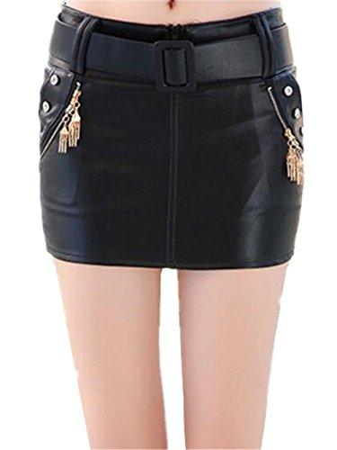 Bodysuit Court Jupe Faux Femme Jupe Line Jupe Skirt Fashion Jupe Chic Black10 Mini Tendance Femelle Jupe Cuir Aoliait Glamour A pwqtBRxx