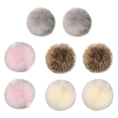Vovomay DIY 8Pcs Faux Fox Fur Fluffy Pompom Ball for Knitting Hat Hats